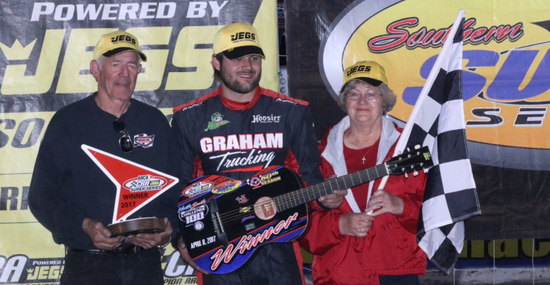 Casey Roderick in victory lane | Photo by: Rich Corbett